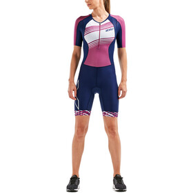 2XU Compression Muta con maniche Donna, navy/very berry white lines